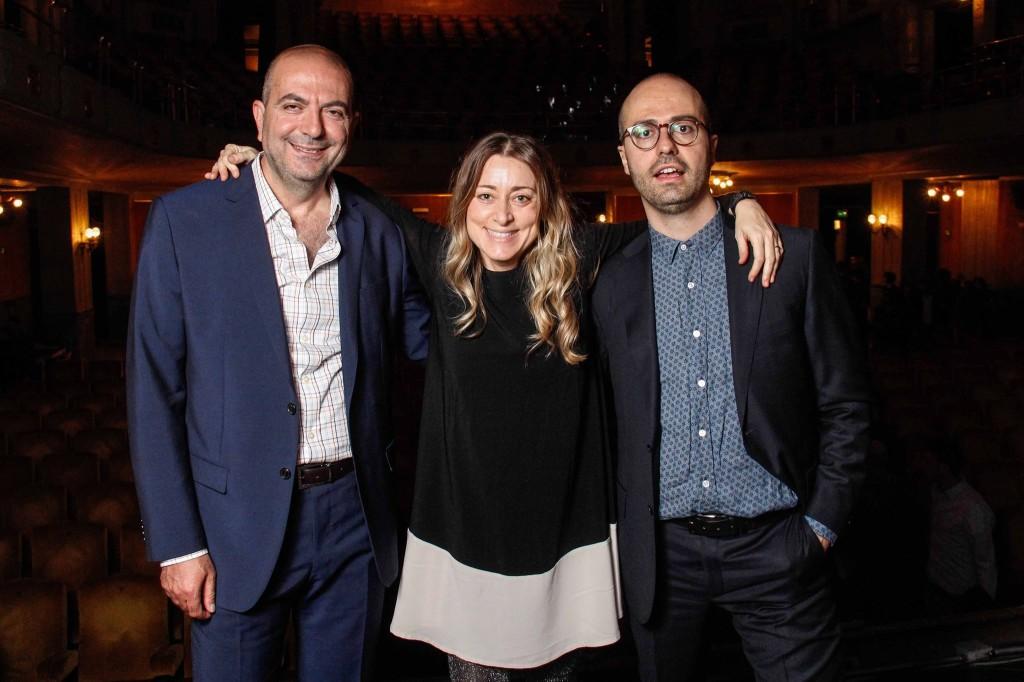 Palestinian director Hany Abu-Assad, festival directors Lisa Chiari and Roberto Ruta - Openig Night