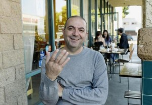 "Palestinian director Hany Abu-Assad, of Oscar nominated foreign-language film ""Omar"" poses in Los Angeles"