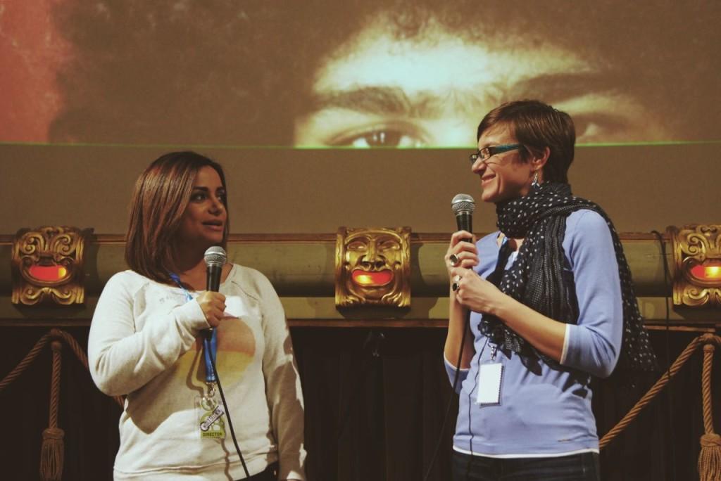 Emirati director Nayla Al Khaja and Laura Aimone, Gulf Region curator Ph. Liu  Wang