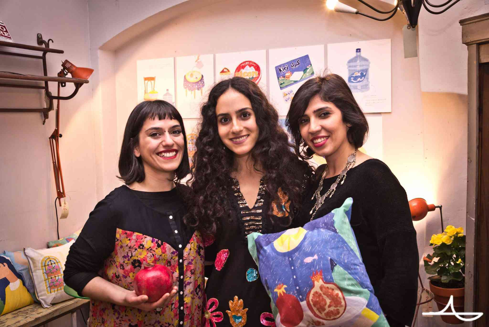 Artist illustrator Nour Flayhan with festival members