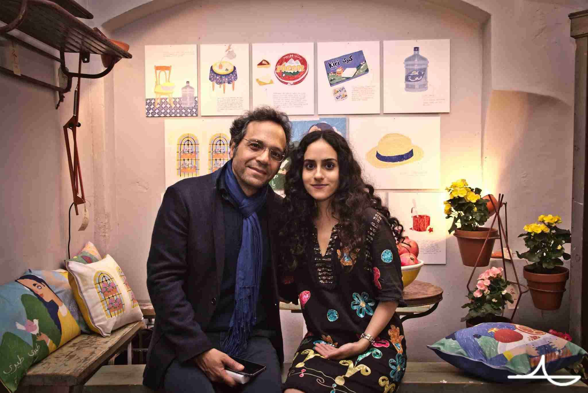 Lebanese-Kuwaiti illustrator Nour Flayhan and her father